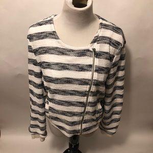 Sanctuary blue and white striped knit blazer large